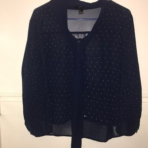 Sheer navy blouse with white polka dots